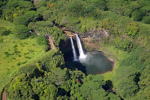 Wailua Falls, a stop on Shaka Guide's Wailua Valley and Waterfalls Tour